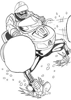 the man is riding his snowcycle coloring page