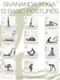 Sivananda Yoga 12 Basic Postures exercise yoga health diy exercise healthy living home exercise tutorials yoga poses self improvement exercising self help sivananda yoga yoday for beginners yoga positions
