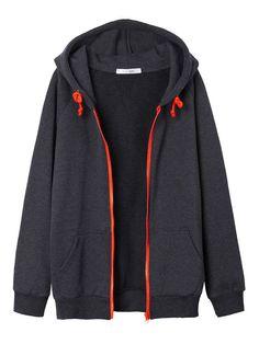 Casual Women Long Sleeve Zipper Solid Hood Sweatshirts