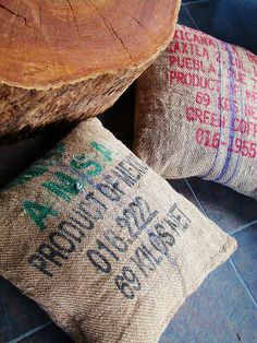 Create chic cushion covers for your patio or living space with old discarded coffee sacks
