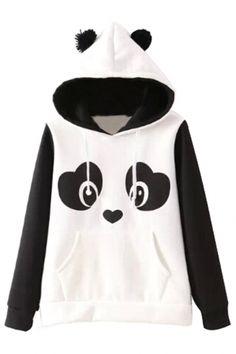 Lovable Panda Pattern #Hoodie - OASAP.com