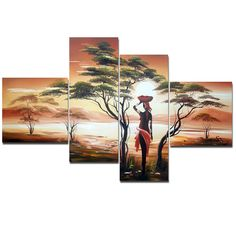 - Description - Why Accent Canvas? This exquisite Woman of Africa Landscape Canvas Wall Art Oil Painting is hand-painted on canvas by one of our master artists. Each artists begins with a blank c Mais China Painting, Oil Painting On Canvas, Tree Canvas, Canvas Wall Art, African Paintings, Africa Art, Africa Style, Panel Art, Woman Painting