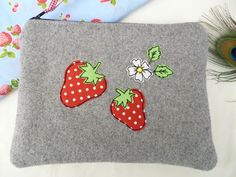 Handmade Cosmetic Makeup Bag Strawberry design Grey wool blue strawberry lining in Clothes, Shoes & Accessories, Women's Accessories, Purses & Wallets | eBay