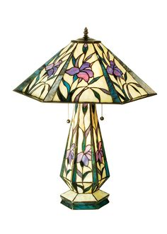 As calming as a beautiful summer meadow, Purple,Blue and Pink Iris Blossoms waive serenely in the mind's eye-Iris Hex Lighted Base Stained Glass Table Lamp. Stained Glass Table Lamps, Stained Glass Projects, Light Table, Lamp Light, Living Room Decor Country, Farmhouse Light Fixtures, Lamp Shade Store, Tiffany Lamps, Lamp Bulb