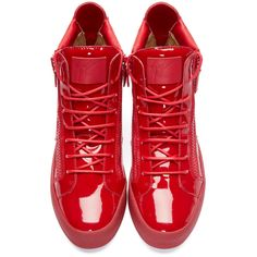 Giuseppe Zanotti Red Patent Leather High-Top London Sneakers