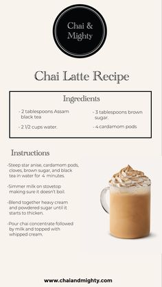 Everyone needs a drink that will calm them down after a stressful day. This chai latte is the perfect drink for that. It is healthy, tasty and extremely easy to make! Tea Recipes, Coffee Recipes, Smoothie Recipes, Smoothies, Yummy Drinks, Fruit Drinks, Healthy Drinks, Beverages, Weight Loss Tea