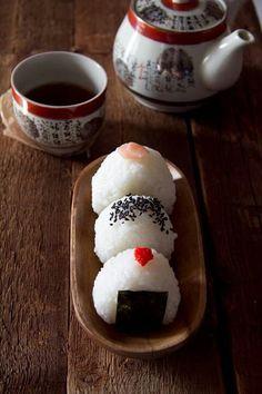 Onigiri with tea.