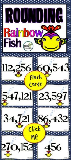 Rounding Numbers up to hundred thousands double sided flash cards for elementary classrooms.