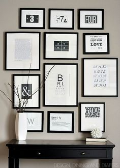 chic black and white gallery wall free printables too via taryn design