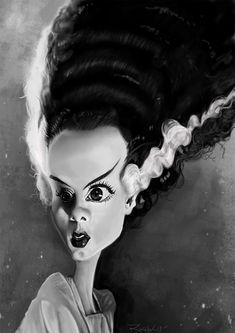 Caricatura de Elsa Lanchester