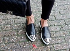 Crackled Leather and Miu Miu Slip-ons