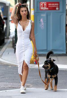 Emily Ratajkowski looks with her puppy in a white dress with buttons . - Emily Ratajkowski looks chic with her puppy in a white dress with buttons – Emily Ratajkowski loo - Button Up Dress, Dress Up, Bodycon Dress, Shirt Dress, Dress Girl, Tank Dress, Look Fashion, Fashion Outfits, Womens Fashion