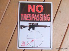 NO TRESPASSING METAL SIGN,Gun Rifle Sniper Sight Shooting Range Warning Signs #NOTRESPASSING