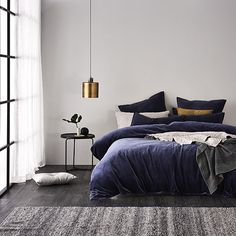 Home Republic - Cotton Velvet Quilt Cover Navy - Bedroom - Quilt Covers & Coverlets - Adairs Online
