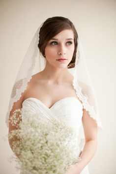 Dotted Lace Veil Mantilla Veil Elbow Length by MelindaRoseDesign, $195.00