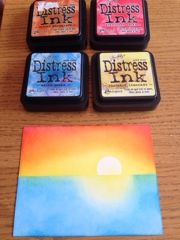 Love Affair: OCC Background Check Class - Ink Blending a Horizon - Mask a cut circle!Creative Love Affair: OCC Background Check Class - Ink Blending a Horizon - Mask a cut circle! Distress Markers, Tim Holtz Distress Ink, Distress Oxide Ink, Card Making Tips, Card Making Tutorials, Card Making Techniques, Druckfarben Im Distress-look, Distress Ink Techniques, Embossing Techniques
