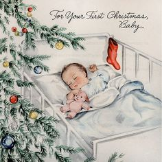 Baby First Christmas Digital Download vintage xmas image for fabric transfer decoupage cards burlap ornament old fashioned christmas holiday by SaltwaterTaffs on Etsy https://www.etsy.com/listing/244911610/baby-first-christmas-digital-download