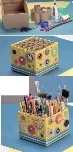 Love this storage idea using cardboard tubes inside a decorated cardboard box!DIY holder for pencils, markers, scissors, paint brushes, pensVery handy idea Cardboard Storage, Cardboard Box Crafts, Diy Storage Boxes, Cardboard Tubes, Craft Storage, Paper Crafts, Cardboard Box Ideas For Kids, Craft Organization, Storage Ideas
