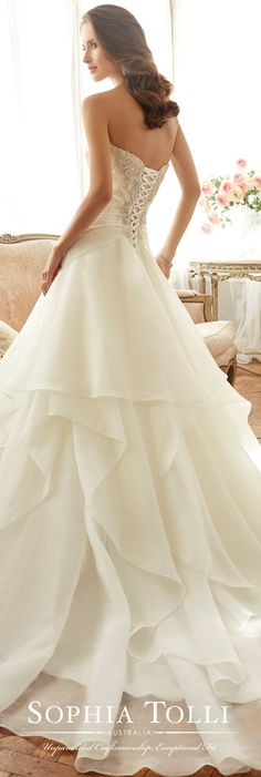 Sophia Tolli Spring 2017 Wedding Gown Collection - Style No. Y11711 Bardot - strapless organza wedding dress with beaded bodice and layered skirt