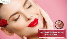Instant detox rose face mask is an relaxing way to refresh dull, and dry skin. Detox rose face mask treat your skin and gives you a glowing skin. Fresh Rose Face Mask, Calcium Bentonite Clay, Glowing Skin, Detox, Lipstick, Herbs, Beauty, Lipsticks