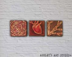 3 Pannel Painting Abstract Tree Heart Rope  by AshleysArtStudio