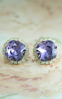 tanzanite crystal earrings | square crystal earrings | purple and mint wedding | www.endorajewellery.etsy.com