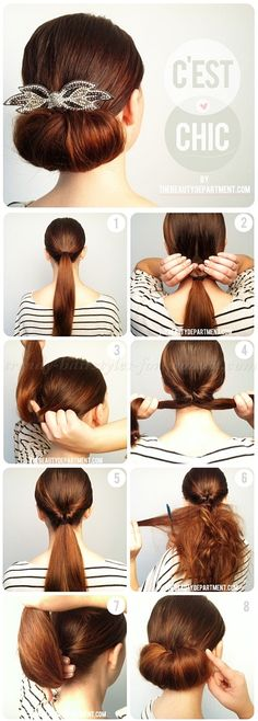 hairstyle tutorials, hairstyles step by step - low bun hairstyle tutorial
