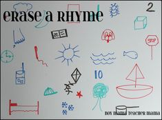 susan akins posted Erase a Rhyme Game to their -Preschool items- postboard via the Juxtapost bookmarklet. Rhyming Activities, Language Activities, Fun Activities For Kids, Kids Fun, Therapy Activities, Articulation Games, Educational Activities, Preschool Ideas, Teaching Ideas
