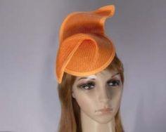 Orange fashion pillbox fascinator hat for races Max Alexander online in Aus MA564O