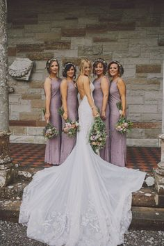Elegant lavender bridesmaids dresses and wedding dress
