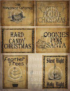Primitive Weihnachten Prairie Feder Baum Santa von Starrmtnprims, $3.00