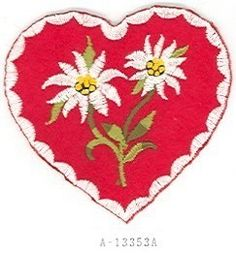 Keep heart shape w/ German flag colors in background and keep edelweiss? German Flag Colors, German Decor, German Costume, Alpine Flowers, Edelweiss, Alpine Style, Farewell Gifts, Christmas Trends, Thread Painting