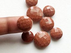 WHOLESALE 9 Pcs Sunstone Double Side Cut Stones by gemsforjewels