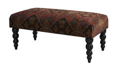 Claire Damascus Fabric Upholstered Bench Red Pattern Ottoman Dark Wood Legs NEW Upholstered Bench, Ottoman Bench, Ottoman Decor, Black Bench, Bedroom Seating, Kitchens And Bedrooms, Affordable Furniture, Extra Seating, Furniture Decor