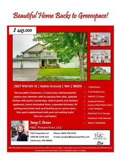 Just Listed! Real Estate for Sale: $445,000-4 Bd/2.1 Ba Beautiful Two Story Parkview Trails Craftsman Style Home on .15 Acre Lot Backs to Greenbelt at: 2607 NW 6th St, Battle Ground, Clark County, WA! Area 61. Listing Broker: YouQian (Jenny) Brown (360) 798-1918, YQC Properties, Vancouver, WA! #RealEstate #NewListing #ParkviewTrailsRealEstate #BattleGroundRealEstate #CraftsmanStyleRealEstate #UpdatedHome #FourBedroom #ThreeCarGarage #Greenbelt #WalkingTrails #YouQianBrown #YQCProperties