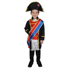Napoleon Costume - Child Costume includes Long tailcoat jacket, pants, belt, hat, boot covers and sash. This Napoleon Costume is. Black Tees, Halloween Outfits, Halloween Costumes For Kids, Halloween Clothes, Napoleon Costume, French Costume, Toddler Boys, Baby Boys, Dress Up