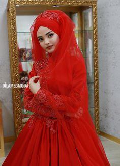 Bridal Hijab, Hijab Wedding Dresses, Hijab Bride, Dress Wedding, Muslim Dress, Hijab Dress, Hijab Fashion, Fashion Dresses, Red Frock
