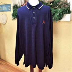 VTG Ralph Lauren XXL Mens Polo Golf Shirt Navy Blue White Knit LS Crest Cotton #PoloRalphLauren #PoloRugby