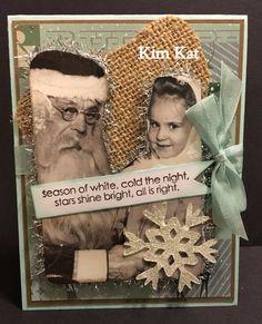 Christmas Pop Up Card Santa & Girl Photo Snowflake by KimKatShop