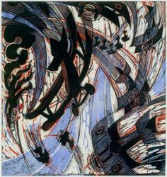 Cyril Power, Air Raid British biplanes tangling with an unidentified enemy against a smoke-filled sky. Art Deco Illustration, Illustrations, Sybil Andrews, Futurism Art, Design Graphique, Air Raid, Linocut Prints, Installation Art, Artwork Prints