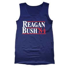 REAGAN BUSH 84 - funny cool hip retro ronald george presidents '84 1984 republican party election rnc humor new - Mens Navy Tank Top DT0028
