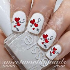 Valentine& Day Nail Art Red Hearts and Swirls Nail Water Decals Wraps 20 mix water decals on a clear water transfer which can be applied over any color varnish Valentine Nail Art, Easter Nail Art, Fall Nail Art, Saint Valentine, Minnie Mouse Nail Art, Mickey Mouse, Nail Art Designs, Cinderella Nails, Baby Shower Nails