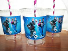 12 Disney Frozen Birthday Party Cups Favors Lids Straws..could probably make these myself.