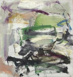 Joan Mitchell, a Chicago-born abstract expressionist who mingled with the de Kooning crowd, has lived in France since the 1950s, yet the New York School still claims her as one of their own. Many of her paintings embody her felt responses to trees, water, fields and flowers. Frantic swirls of colors are suspended in equilibrium; powerful, slashing strokes remind one of Franz Kline but are more organic. The later pictures are open and airy, often exploding in colorful calligraphic gestures