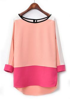 Pink Red Long Sleeve Dipped Hem Chiffon Blouse - Sheinside.com