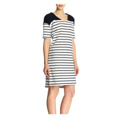 Wide Stripe Dress in Navy from Joe Fresh