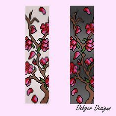 beading loom patterns for free   Cherry Blossom Tree Loom Bracelet Cuff by Debger Designs