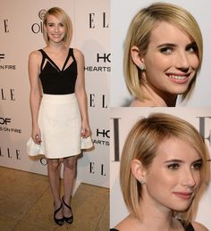 Us WeeklyThis year is shaping up to be one of change for Emma Roberts!The recently engaged actress, wearing a cut-out top and skirt by Cushnie Et Ochs, debuted a chic new bob at Elle's Women in Television Celebration on Jan. 22, in West Hollywood, Calif. The hairstyle, which is shorter in the back, falls just below her chin and looks a few shades blonder than her look at the Golden Globes on Jan. 12.PHOTOS: The best dressed stars at the 2014 Golden GlobesRoberts, 22, is just the latest Hollywoo…