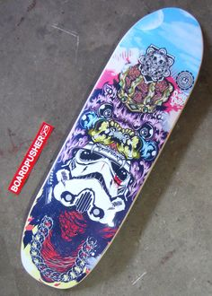 """Is it too soon to get hyped for December 18th? This """"Peace Keeper"""" punk nose is the latest skateboard graphic by Darylenvi Illustration & Branding and is today's #BoardPusher Featured Deck. Check out all of Darylenvi's skateboard designs at www.BoardPusher.com/shop/Purple_Grit."""