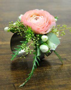Corsage cuff with ranunculus designed by Hafner Florist, Sylvania, Ohio